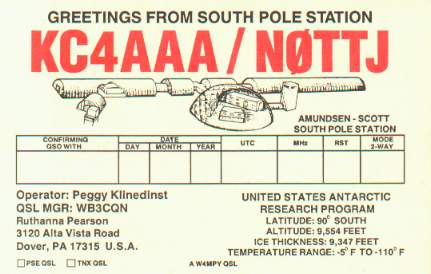 KC4AAA QSL card from South Pole Station.