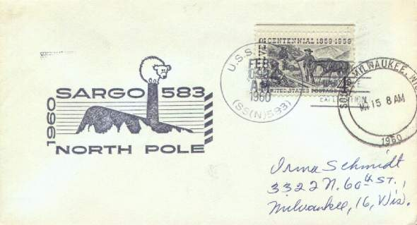 Scan of cover from the USS Sargo North Pole surfacing, with Type-F postmark and Milwaukee, Wisconsin receiving mark.