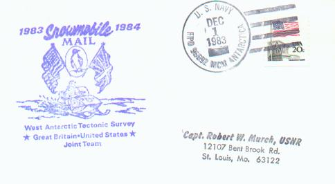Cover from 1983-4 British Tectonic Survey noted as snowmobile mail and addressed to Capt. Murch, USNR.