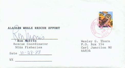 """Gadget"" cover signed by Ron Morris of the NOAA Fisheries Division, participating in the 1988 Whale Rescue project."