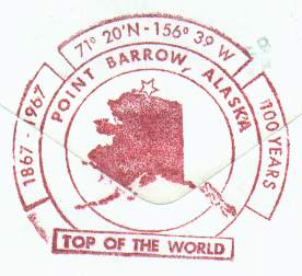 Close-up of the Top of the World cachet from the Top of the World Hotel in Barrow, Alaska.