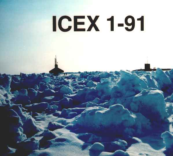 US Navy public domain photograph, cleared for public release of ICEX-91, submarines at surface of North Pole.