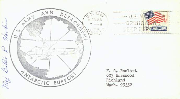 Scan of cacheted cover from U.S. Army Aviation Detachment in Antarctica.
