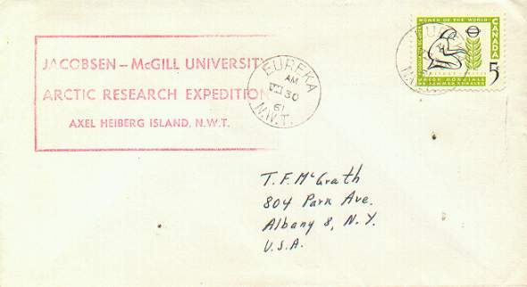 Cacheted cover from the Jacobsen-McGill Arctic Expedition in 1961, addressed to Thomas F. McGrath.
