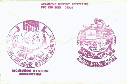 Back side of the Christmas card shown above, with Task Force 43 cachet.