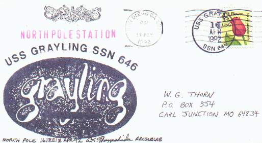 Cacheted cover from the U.S.S. Grayling at the North Pole.