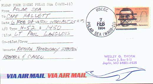 Flight cover from USCGC Polar Sea flown to Cape Hallett Station, Antarctica.