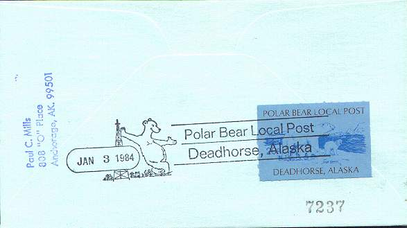 Back side of the Polar Bear Local Post cover shown above.