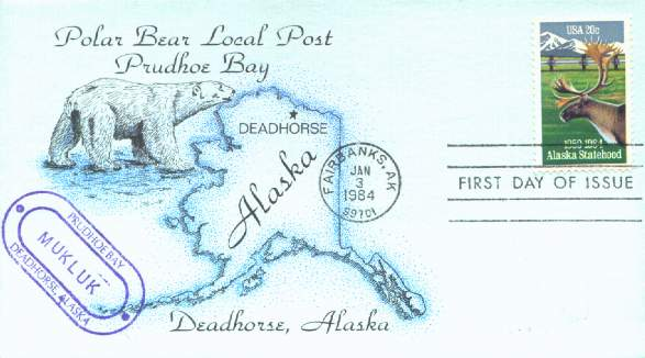 Scan of a beautiful cover from the Polar Bear Local Post for the 1984 Alaska Statehood issue.