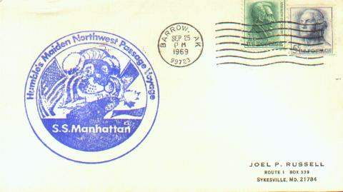 Scan of cacheted cover from Humble Oil's S.S. Manhattan, making the Northwest Passage.