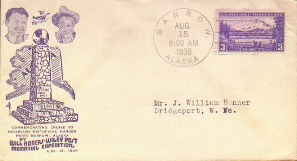 Cacheted cover from the Wiley Post-Will Rogers Memorial Expedition, postmarked at Barrow, Alaska.