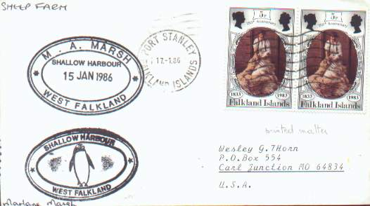 "Cover with several ""chops"" and private rubber stamped markings from the Marlane Marsh sheep farms in the Falkland Islands."