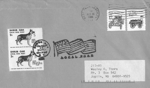 1985 Shrub Oak Local Post cover (approximately actual size) franked with two Dog Post stamps, postmarked in West Palm Beach, Florida; mailed by Herman Herst, Jr.