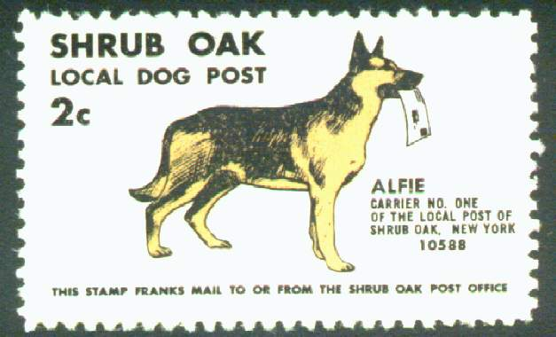 Approximate 6 times enlargement of the Shrub Oak Local Dog Post stamp.