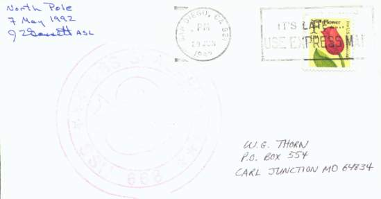 Scan of cover from U.S.S. Spadefish on her North Pole expedition.