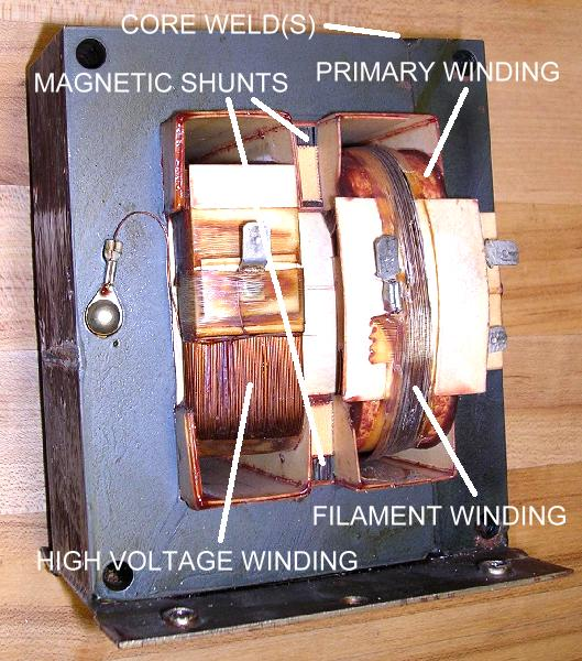 The Transformer Also Had A Stacks Of Laminations Wedged Between Center Core And End Pieces Primary High Voltage Windings
