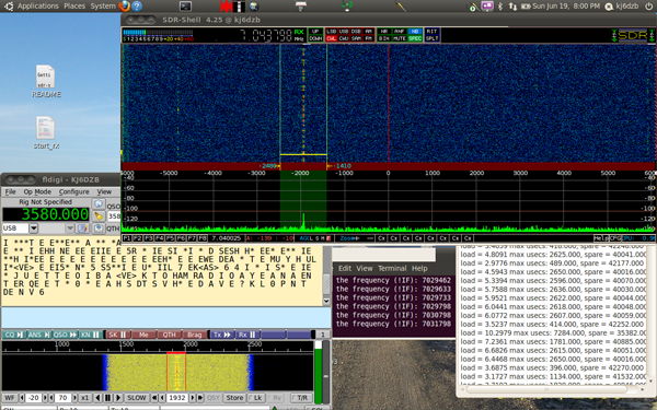 kj6dzb SDR radio running on linux