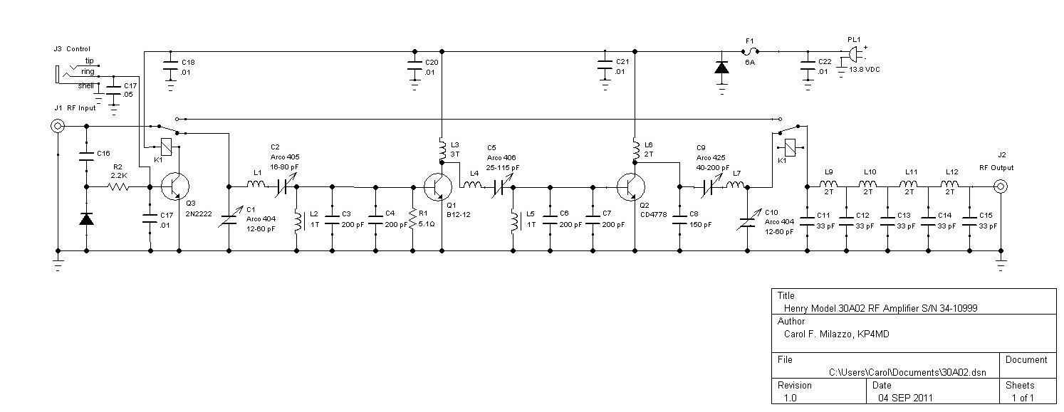 aligning the henry radio 30a02 tempo s 30 rf amplifier rh qsl net schematic diagram of rf amplifier AM Radio RF Amplifier Schematic