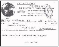 Copia del telegramma di confermazione