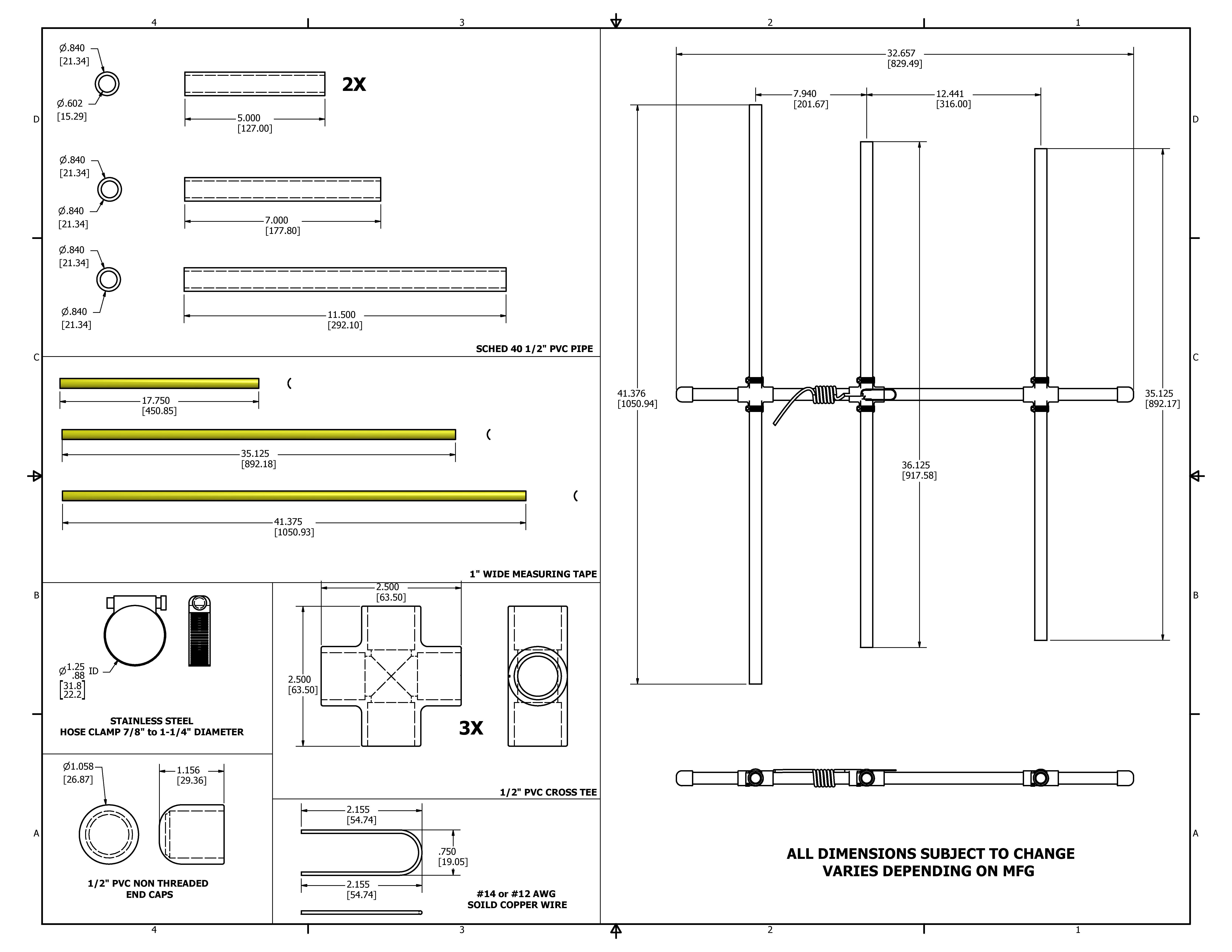 2 Meter Beam With Flexible Steel Tape Measure Elements