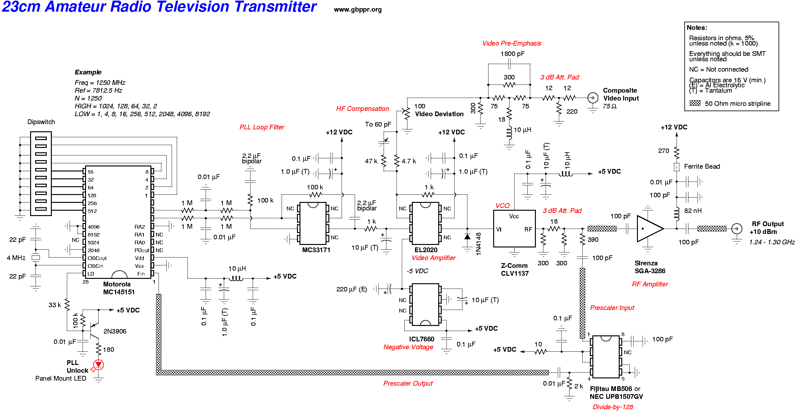 Gbppr 23cm 12 Ghz Atv Video Transmitter Radio Schematics 23 Cm Amateur Television