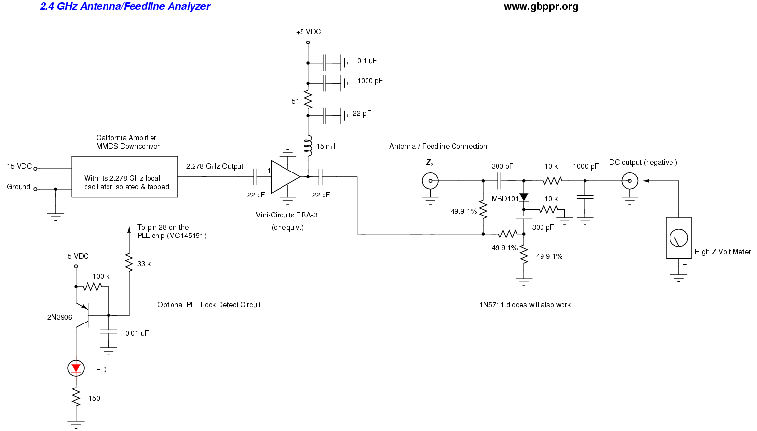 Homebrew Rf Test Equipment And Software Schematic Diagram Of Wlan Gps Circuit 24 Ghz Antenna Feedline Analyzer