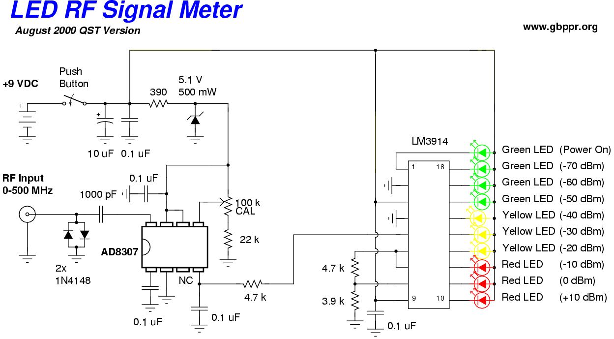 Homebrew Rf Test Equipment And Software Mobile Phone Detector Circuit Led Signal Meter Schematic