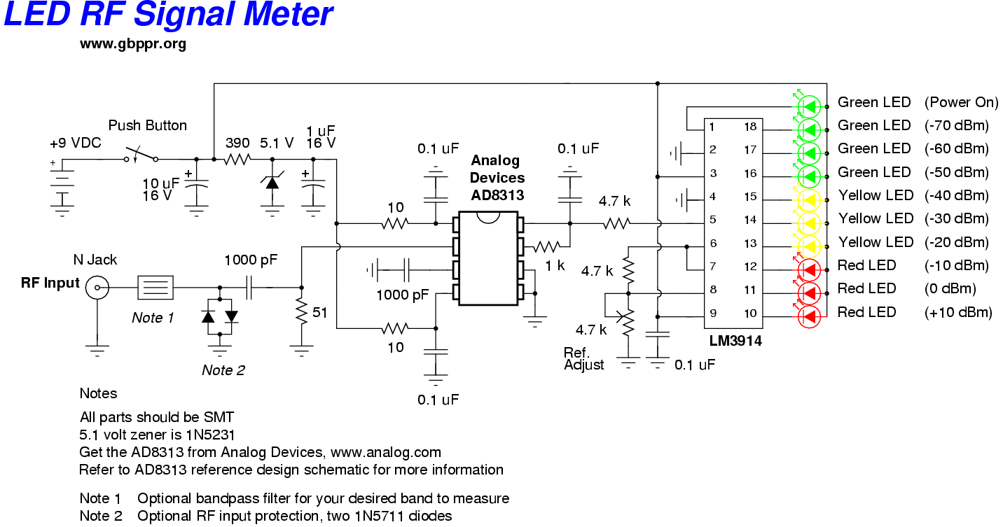Homebrew Rf Test Equipment And Software The Circuit Was Designed To Create A Frequency Convert With Use Of Led Signal Meter Schematic