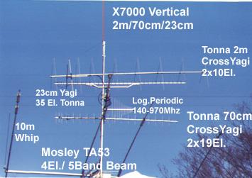 Typical Ham Radio Station, Satellite Antenna,Mosley TA53 5 Band Beam