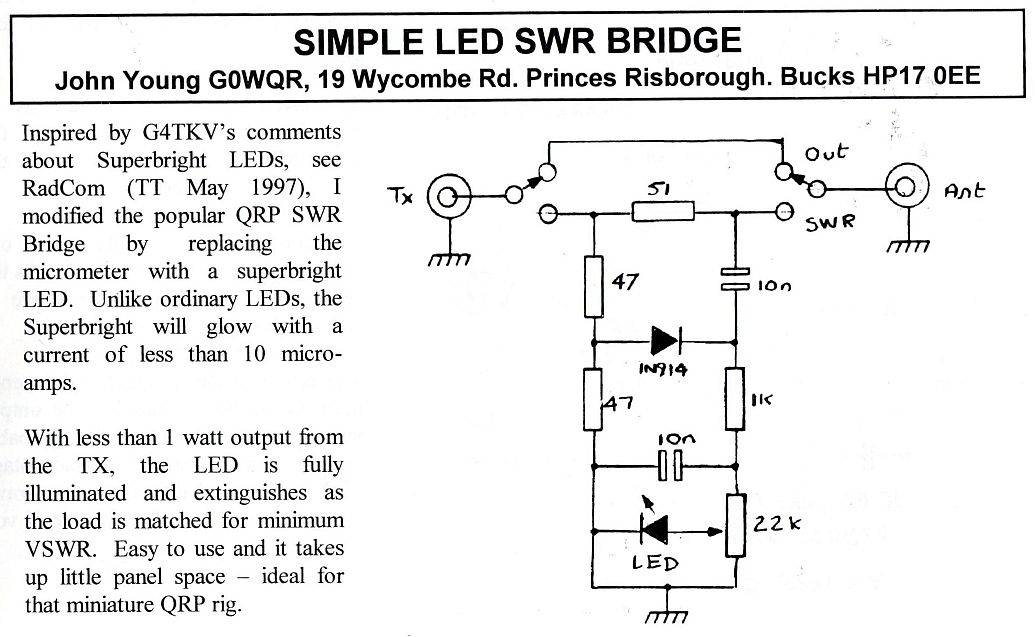 github 4x1md qrp_swr_meter external bridge swr meter for yaesu ftmeter · simple led swr bridge by john young g0wgr