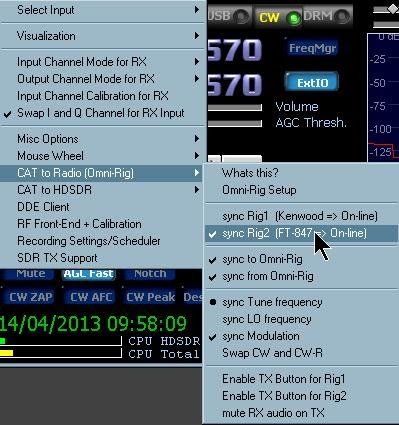 HDSDR-CWSkimmer and Other Digimodes Using IQ Output or Demodulated