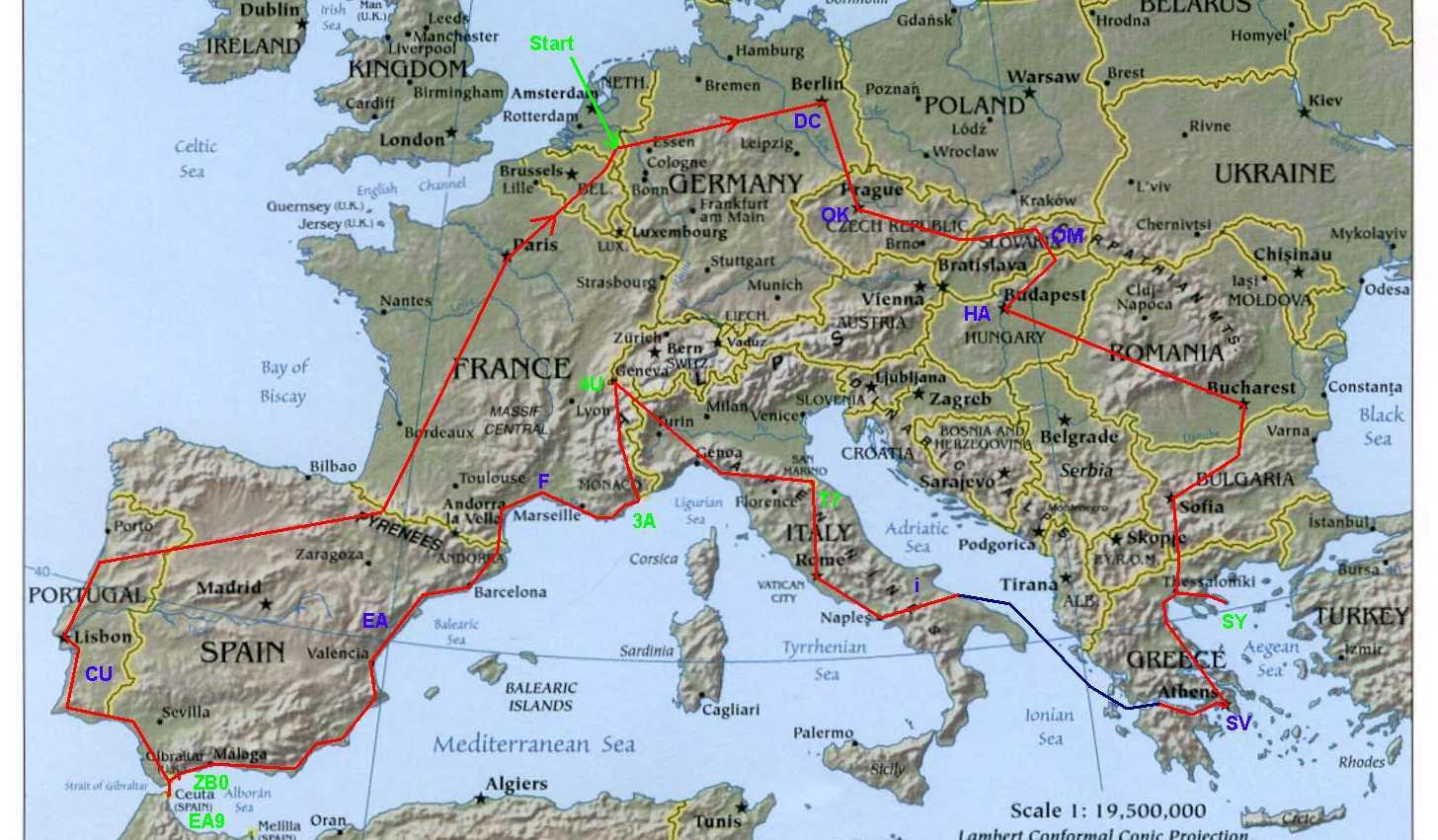 Eutrip - Europe satellite map