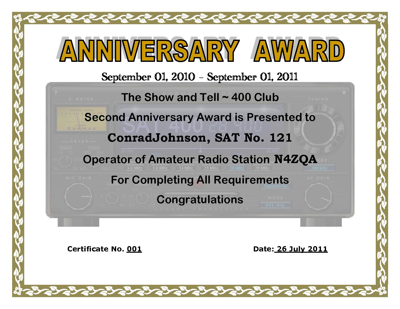 show and tell second anniversary award