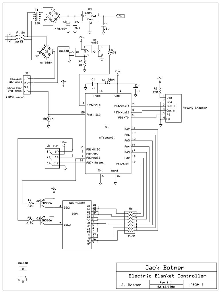 ve3lny s avr projects rh qsl net sunbeam electric blanket wiring diagram electric blanket schematic diagram