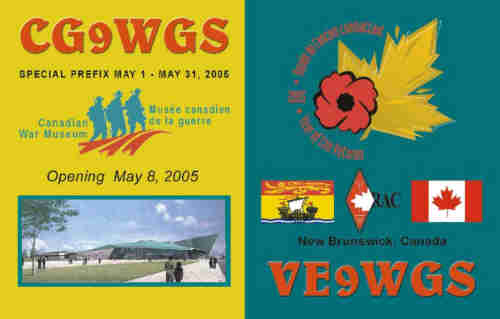 upon request i will confirm contacts made this month with the qsl card from 2005 commemorating the opening of the canadian war museum and the year of the