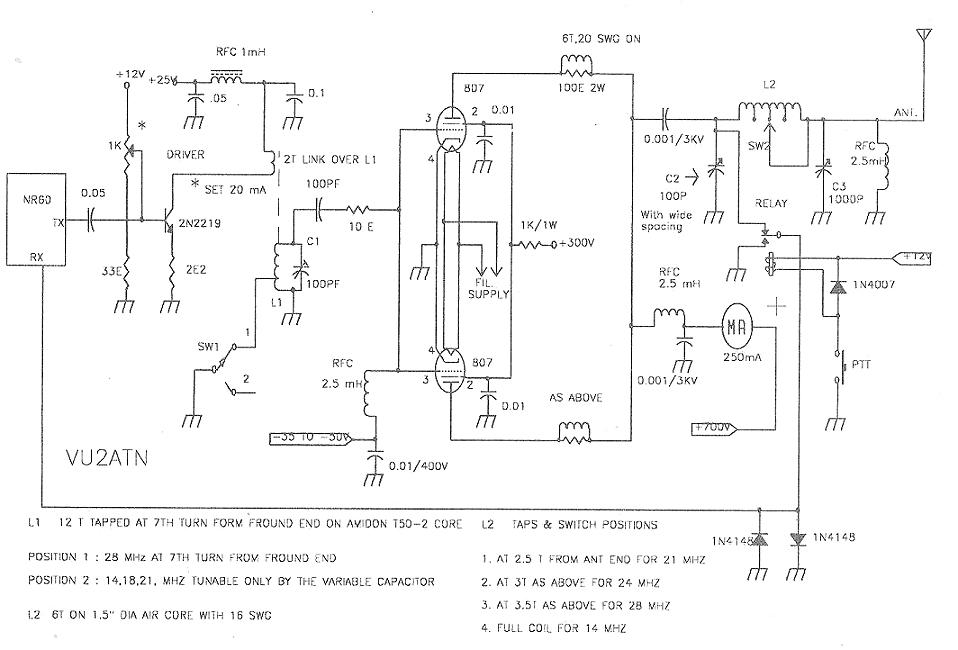 Vu2atn Qro Using 807 Valves Linear Amplifier Schematic Circuit Diagram