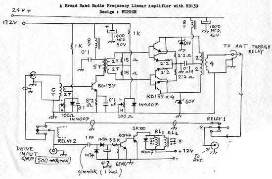 a broadband rf amplifier using bd139 transistors