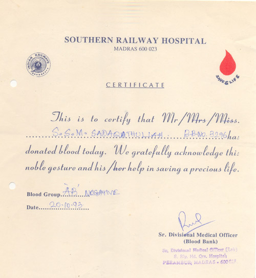 blood donor certificate railway hospital