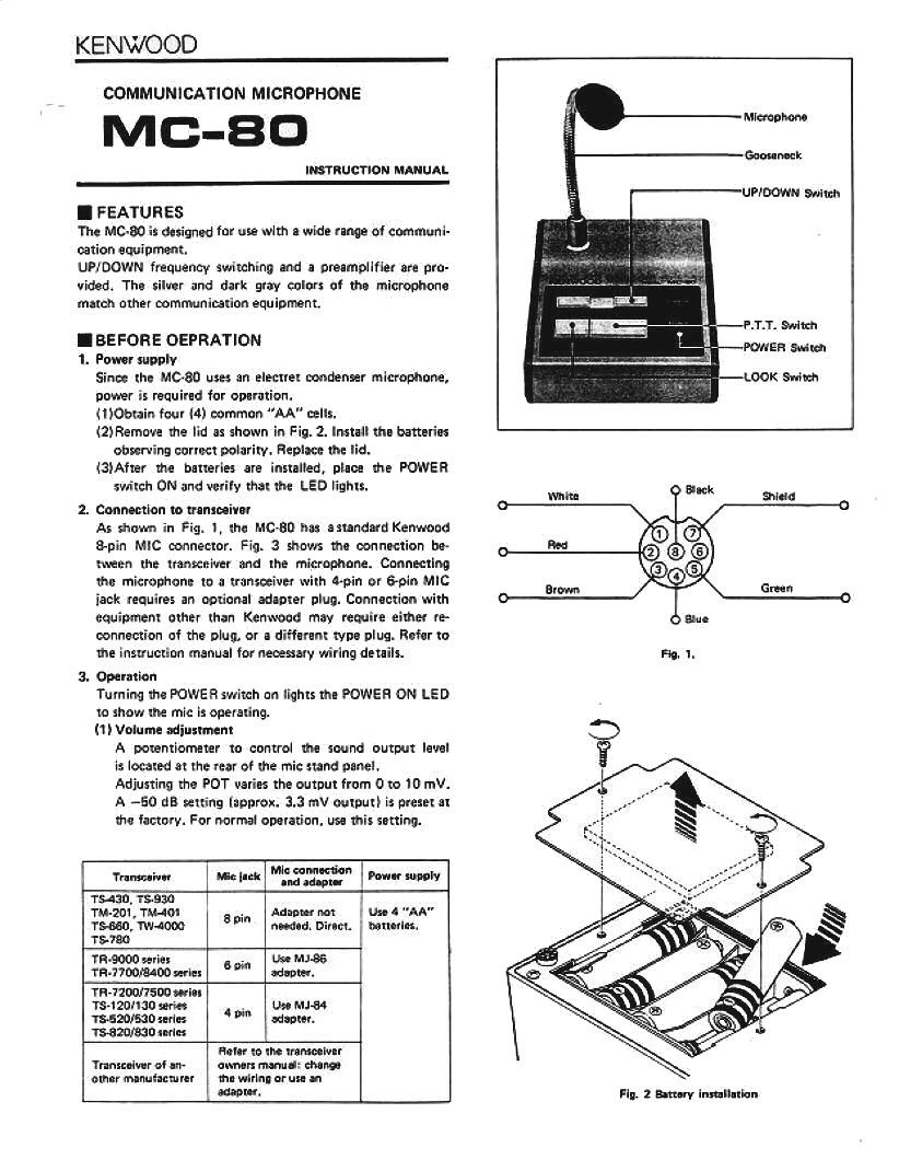 Kenwood_MC80_page1  Kenwood Microphone Wiring Diagram on