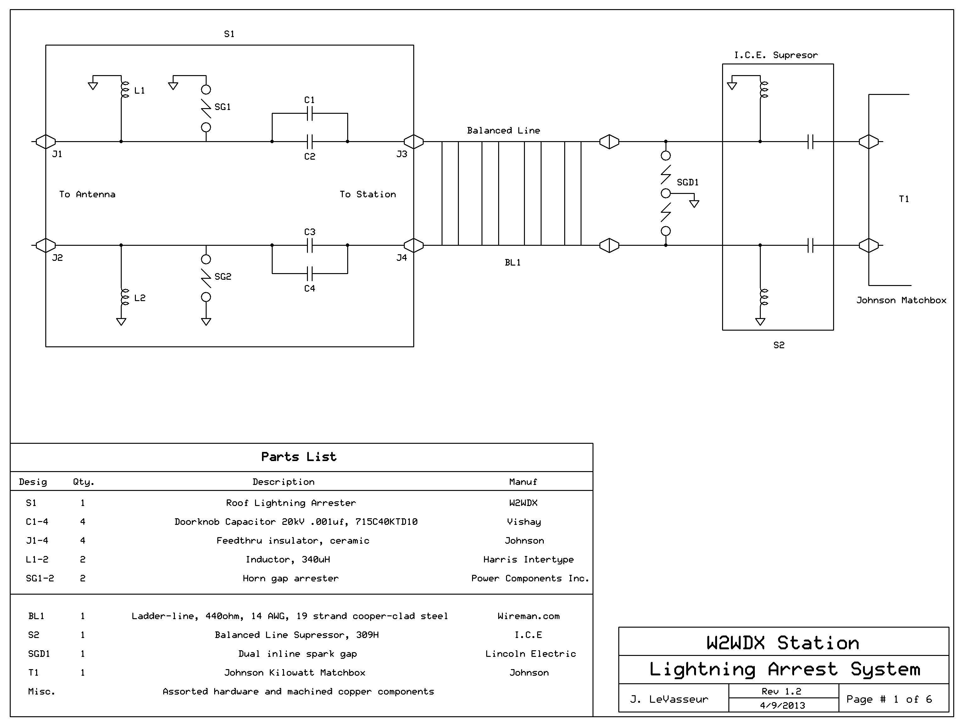 Balanced Transmission Line Lightning Supressor Gap An Antenna Wiring Diagram Horn