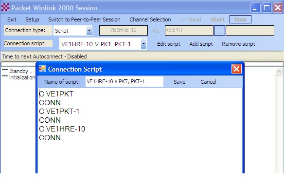 Making a Packet Connection to a Winlink RMS Packet Server