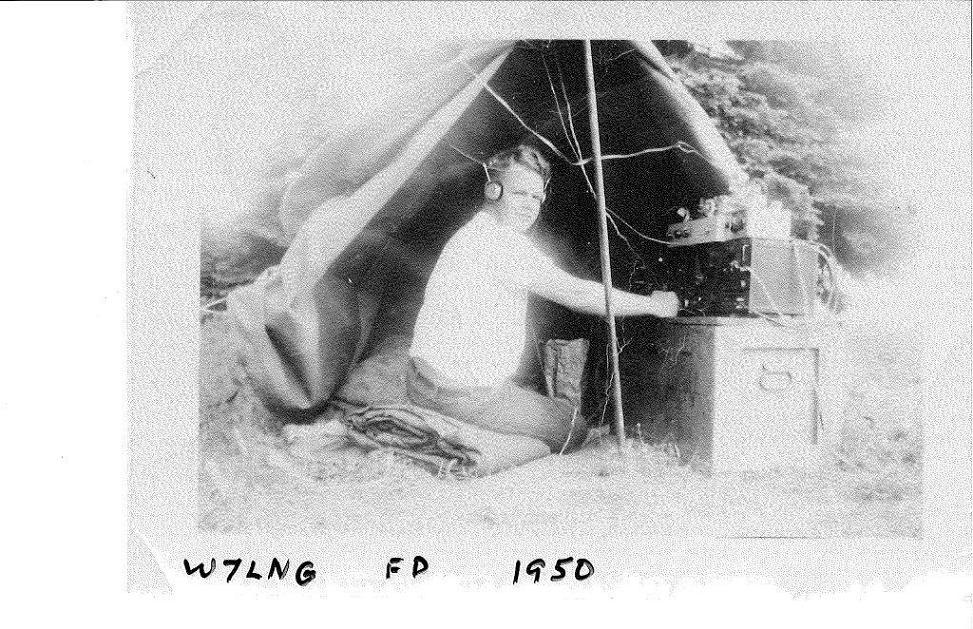 Photo of Bud Larson, W7LNG, at Field Day 1950
