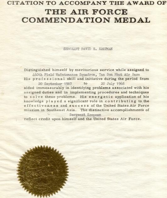 Citation To The Award Of Afcm