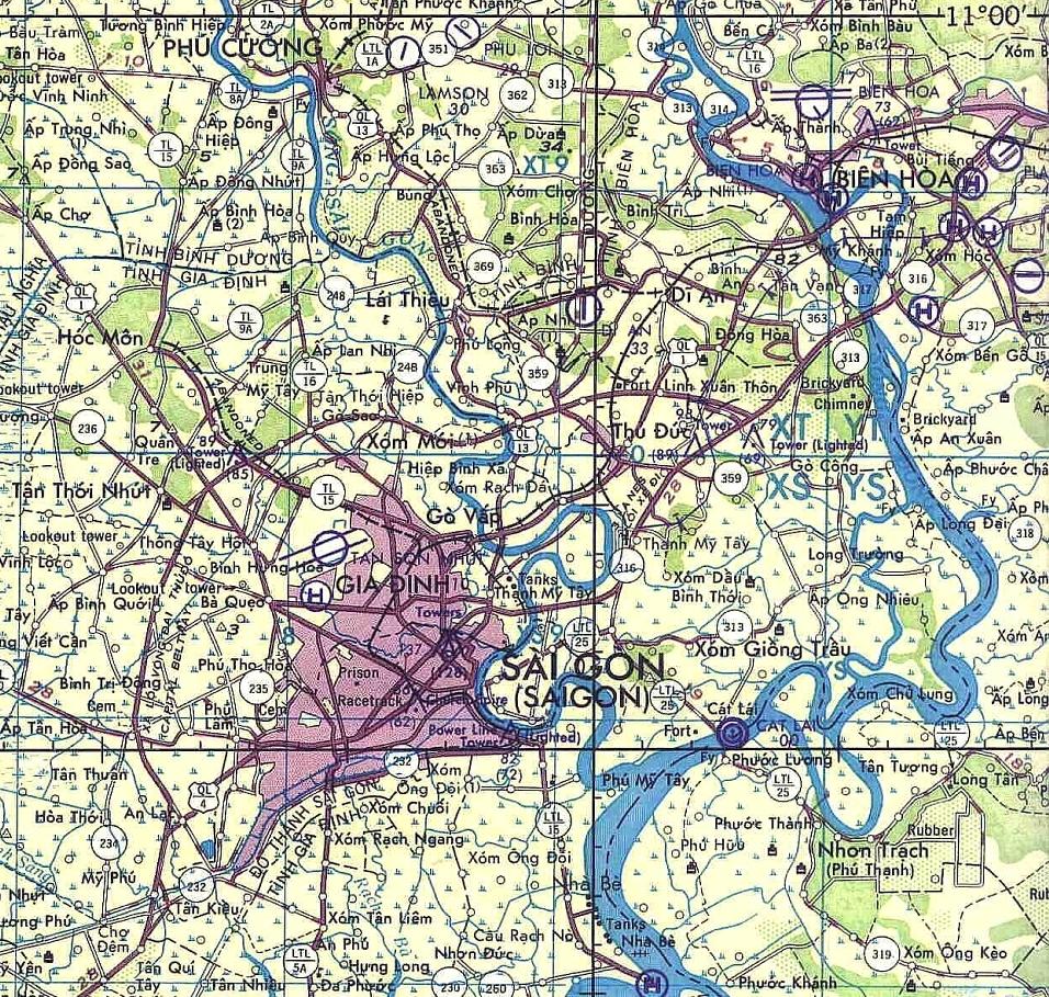 Map of Saigon to Bien Hoa