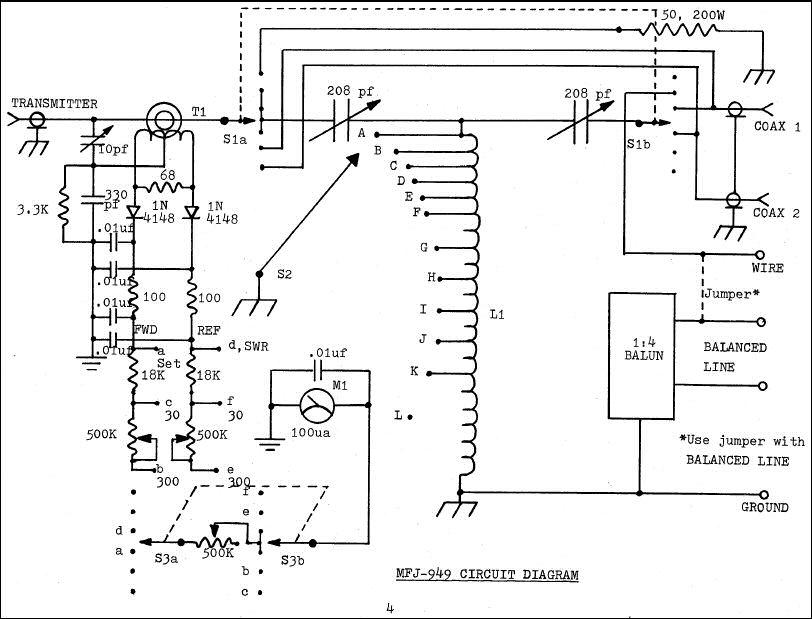 4 wire 220v schematic diagram mfj 949b deluxe versa tuner ii  mfj 949b deluxe versa tuner ii