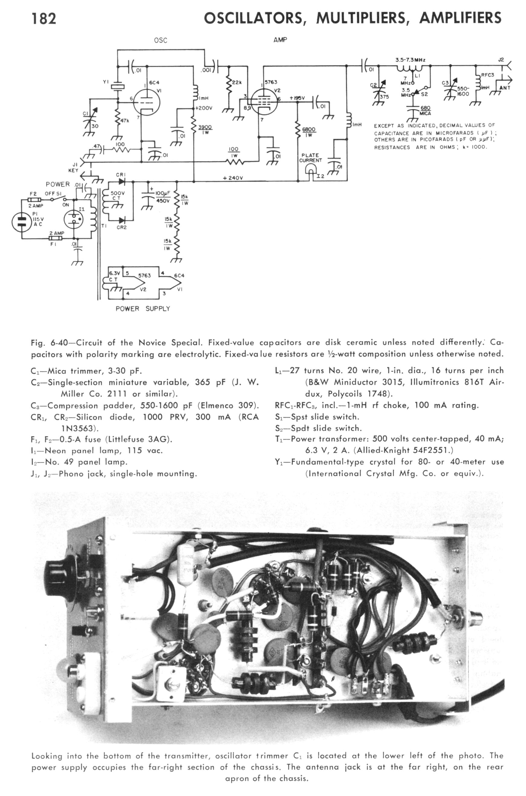 The Novice Special Old Chassis Engineering Schematics Click Here To See Original Schematic That I Used As Published In Above Mentioned 1970 Arrl Handbook