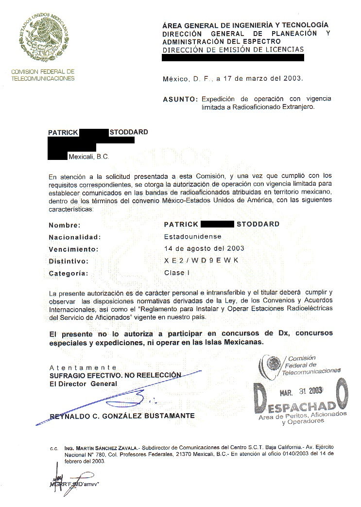 Hand From Mexico City You Must Use The Callsign As Indicated On The Permit Regardless Of Your Location In Mexico