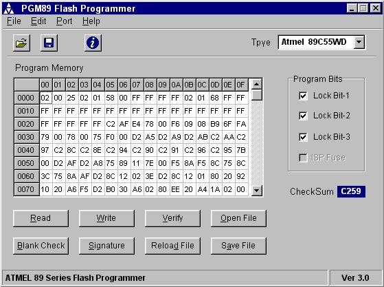 Atmel 89 Series Flash Programmer Ver 3.0