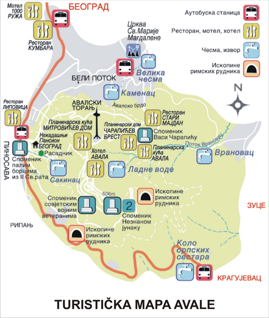 mapa beograda avala Radio klub