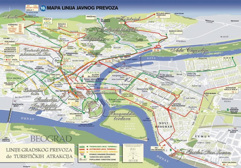 beograd mapa autobuskih linija Radio klub